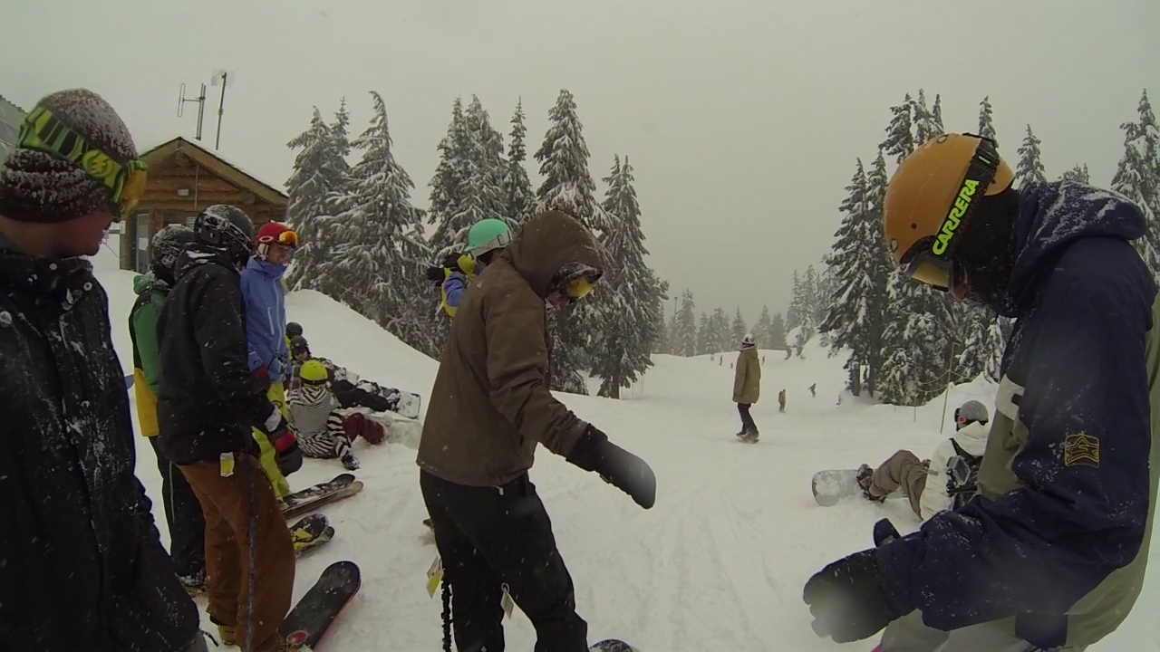 Snowskaters UNITE! C-bass and Michelle from Big White, Riley from Whistler, Graham from Rayne, Jesse from Squampton and the boys from Landyachtz.