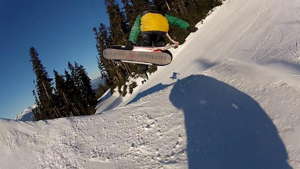 Jesse Davidson putting the first ever Squampton Snowskate to the test with this dirty Judo Air!
