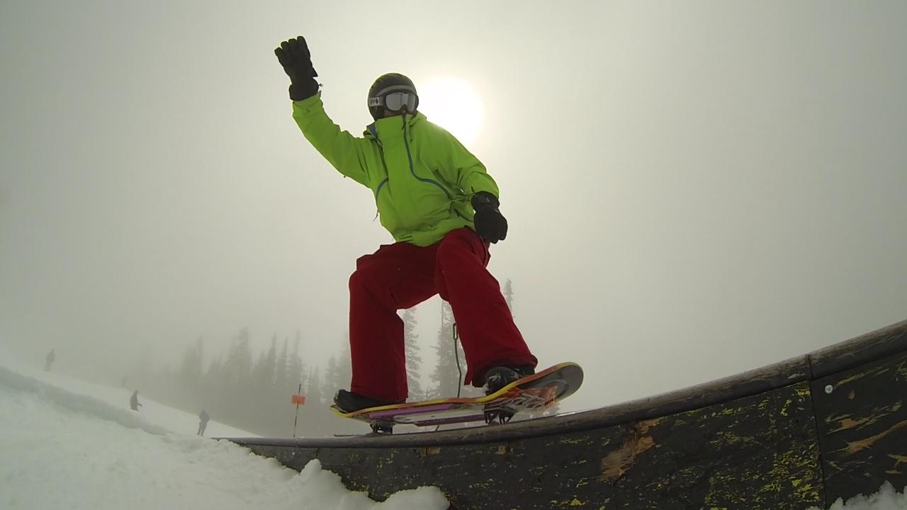 Chris Lay throws down a long ass 50-50 on his Squampton Snowskate