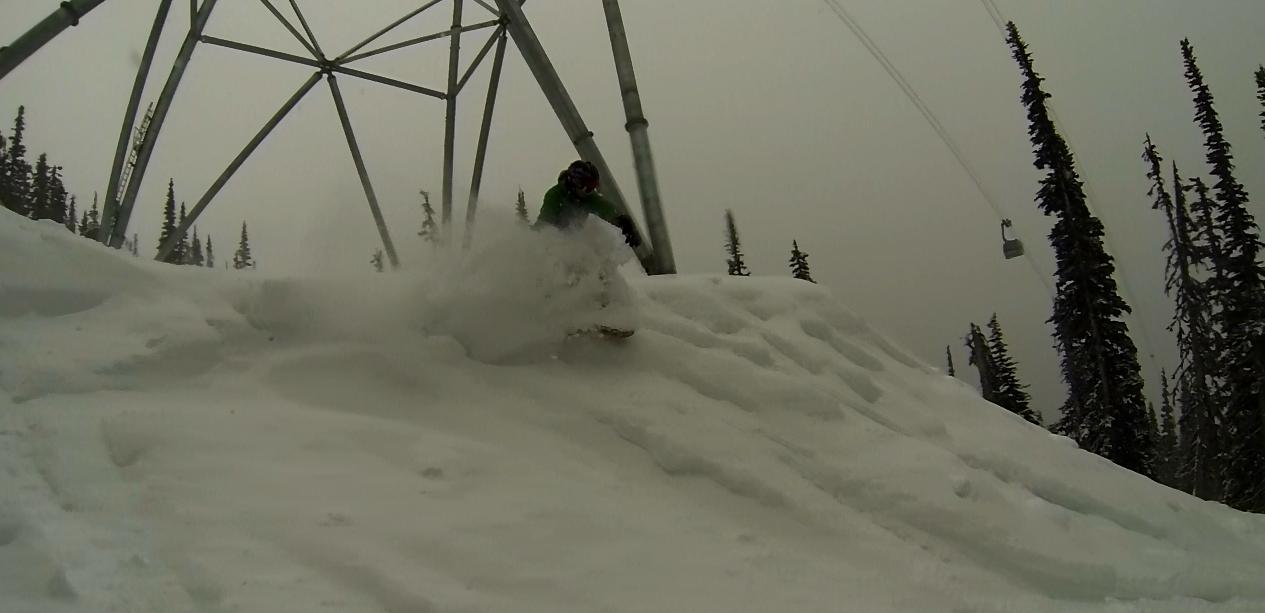 Nick Varey finds a nice stash under the Peak 2 Peak Gondola @ Whistler BC.