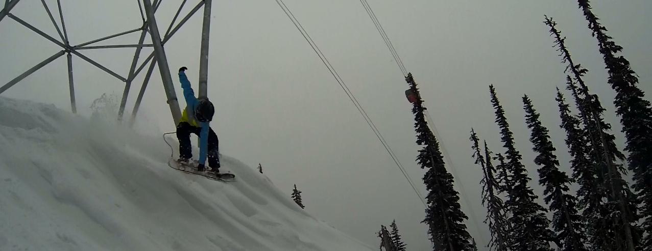 Jesse Davidson early season mute grab under the Peak 2 Peak @ Whistler, BC.