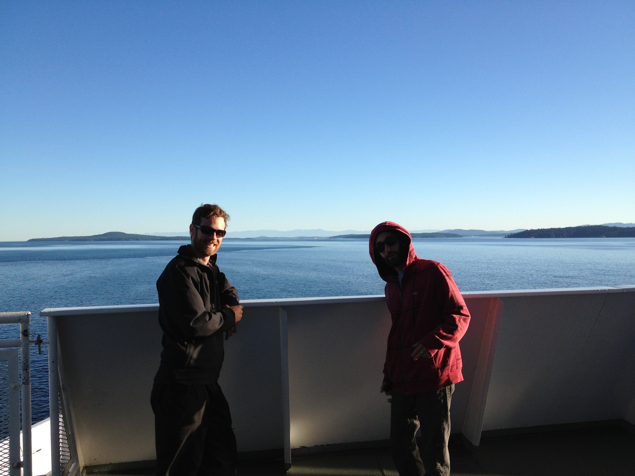 Chris Lay and Jesse Davidson finding a quiet place to enjoy the scenery.