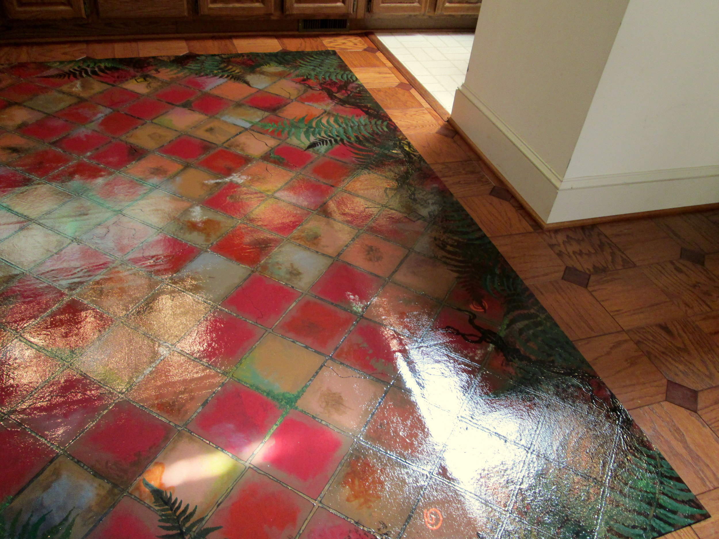 Painted floorcloths or canvas rugs for dining rooms