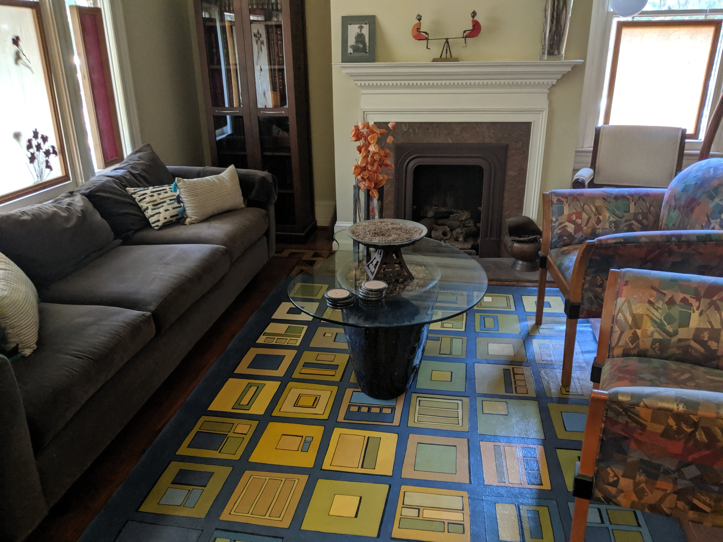 6' x 8' Painted floorcloth in a GraffitiMats design.