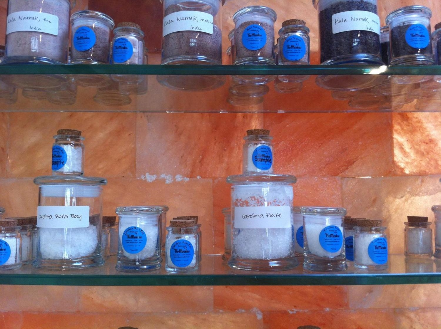 Carolina Sea Salt and Carolina Flake on the shelf at The Meadow