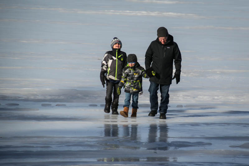 Walking on the ice for their first time...