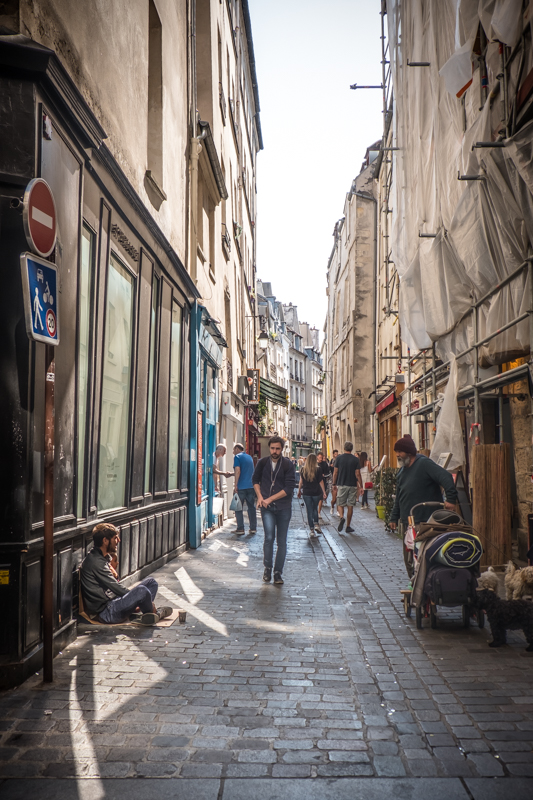 The Jewish District spreads across parts of the 3rd and 4th arrondissements in Paris on the right bank of the Seine. We were staying in Le Marais, very close by, in the 4th arrondissement, the trendiest shopping district in Paris. So much happening here in this photo. It's one of my favorites.
