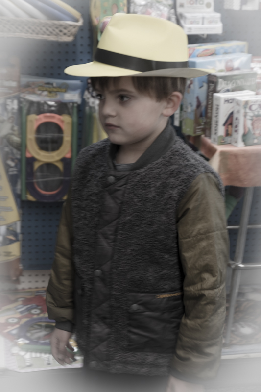 All done with the rocks. We stopped at a few shops on our way to dinner. Jaxson's favorite shop was a children's store with lots of toys and books but Jaxson being Jaxson, loved the hat the best.