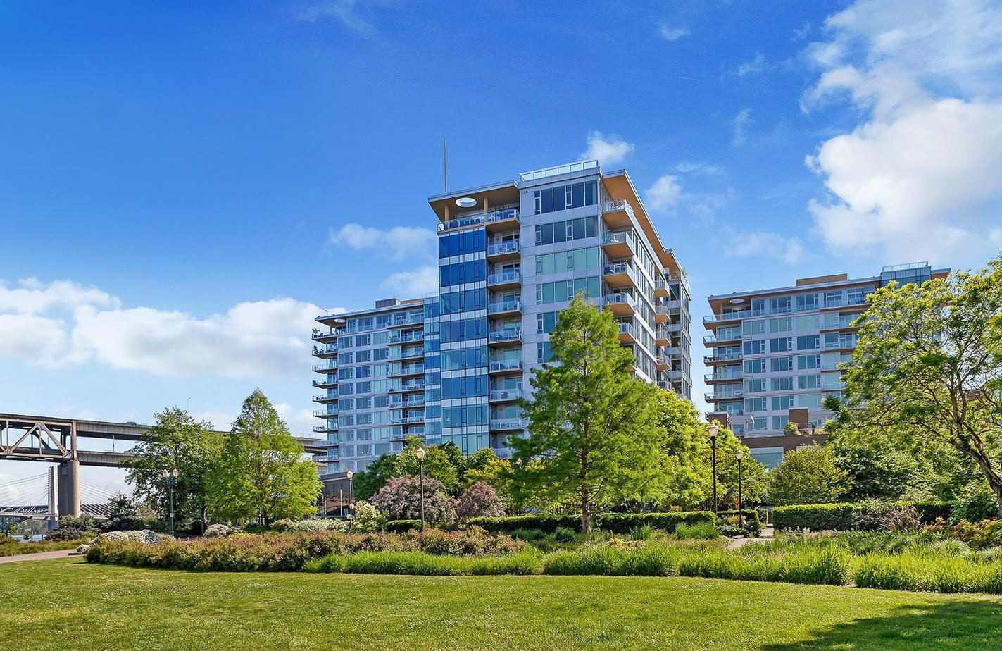 The Strand Condominiums: a trio of elegant glass towers along Portland's waterfront.