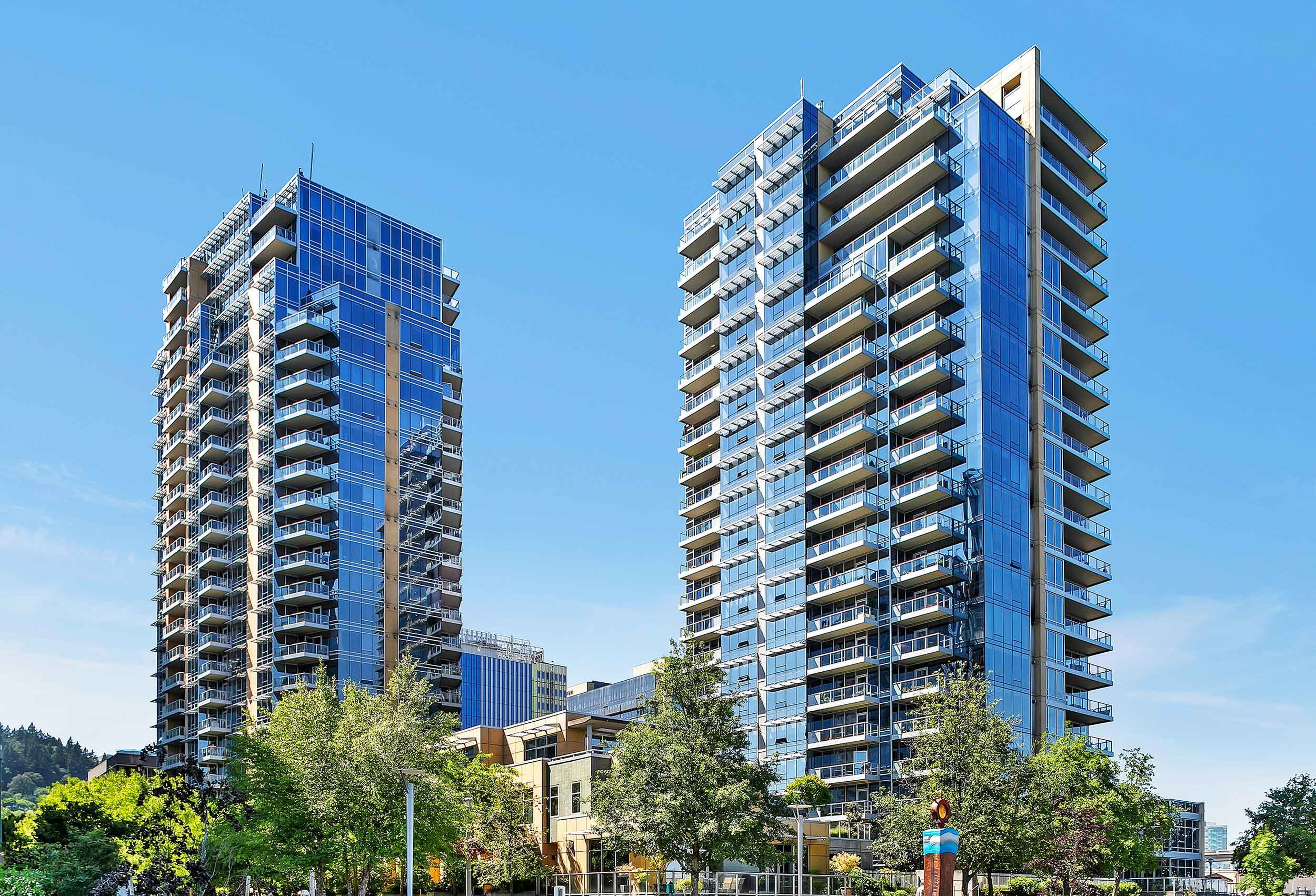 Meriwether's two slim glass towers were inspired by the point tower architecture of Vancouver, British Columbia
