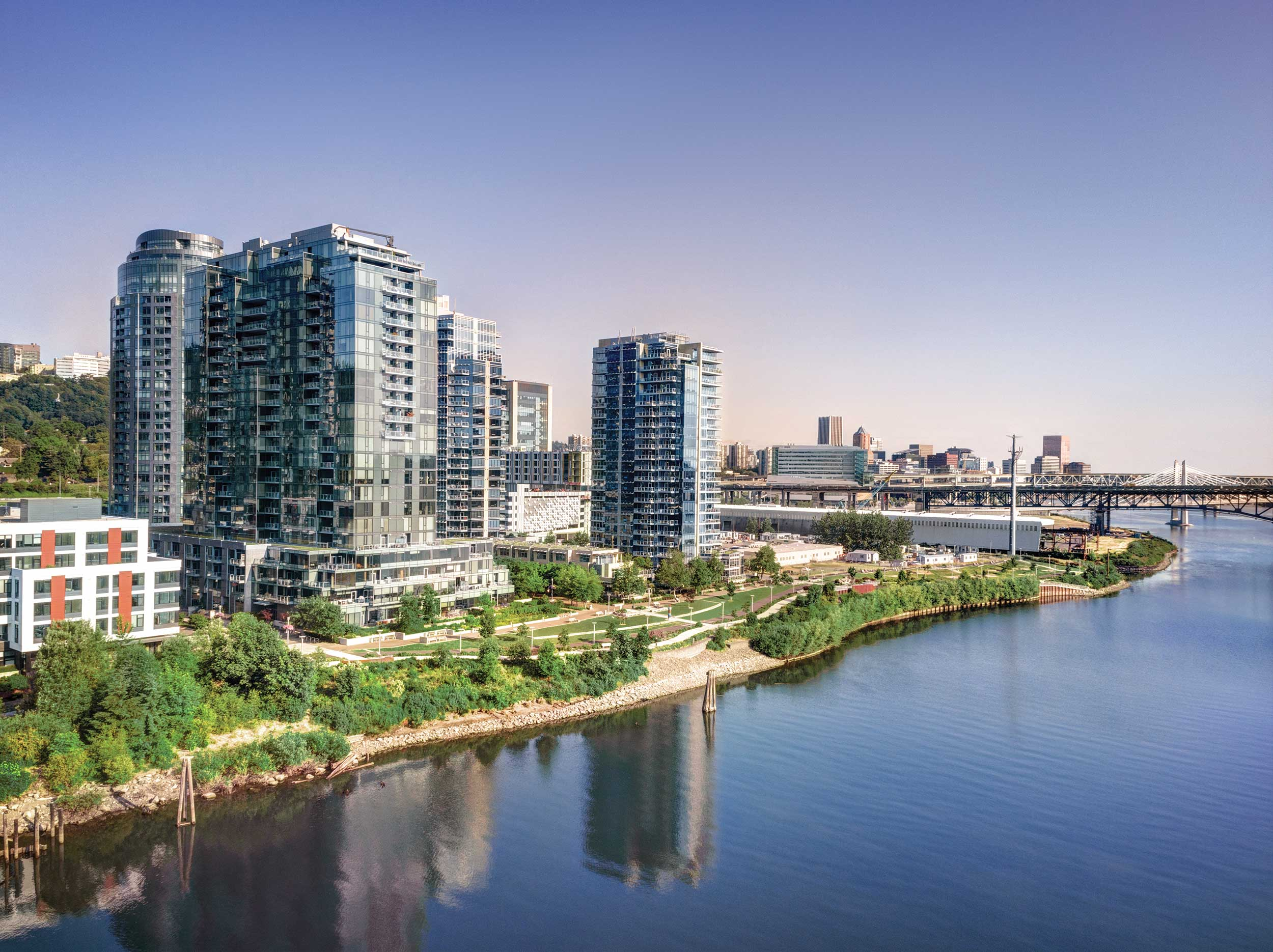 Atwater Place in the foreground is the South Waterfront's most exclusive address.