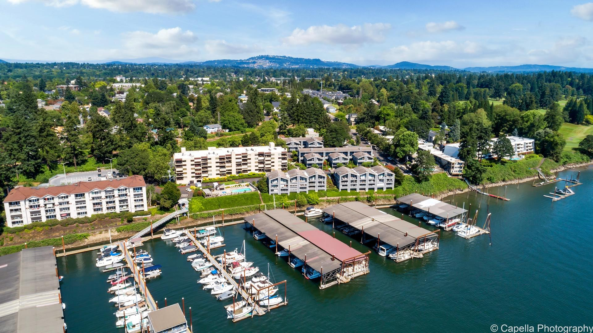 Aerial view of Waverly Landing condos (left), Waverly Yacht Club condos (center) and Quayside condos (right).