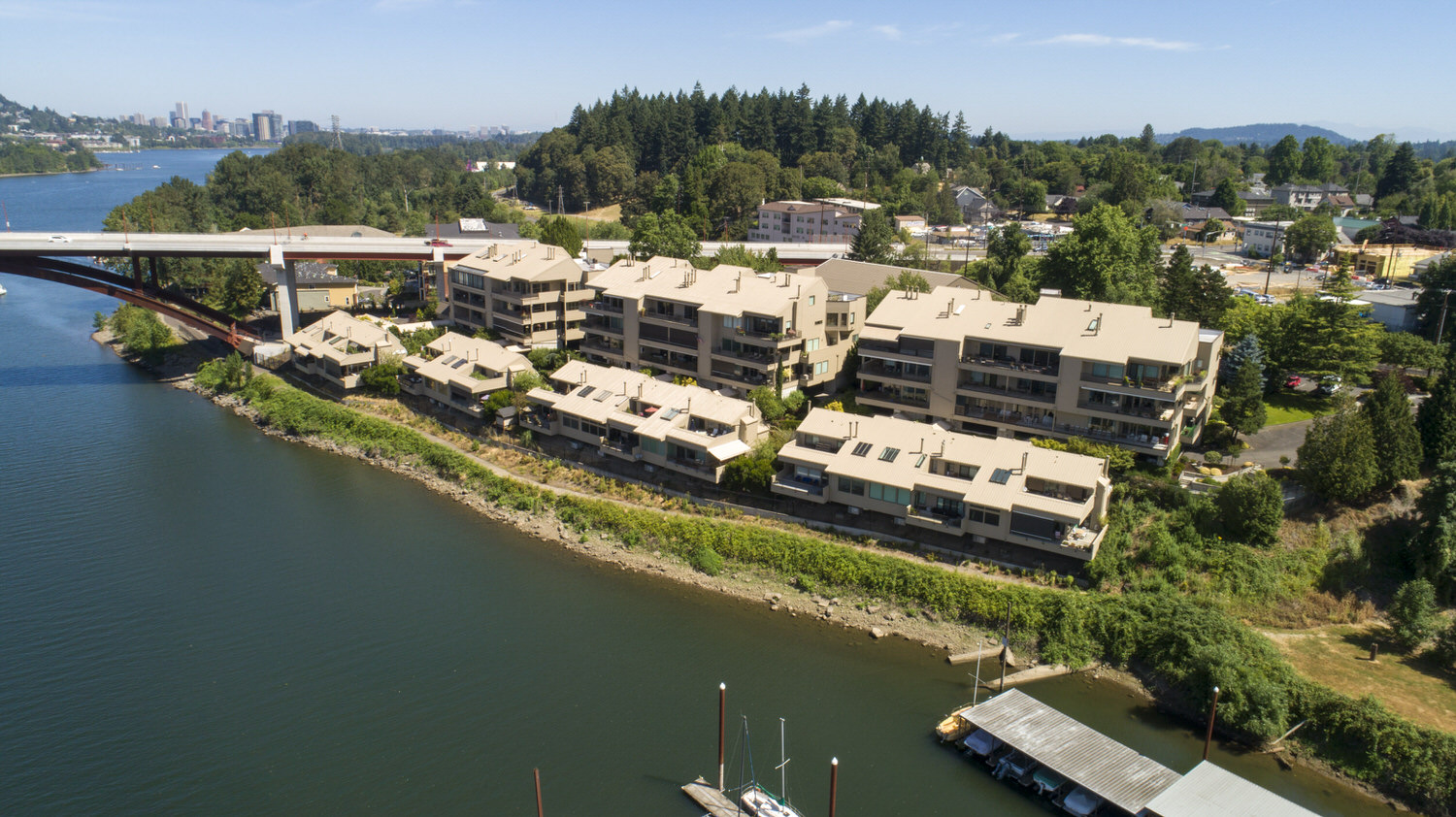 Aerial view of Sellwood Harbor condos