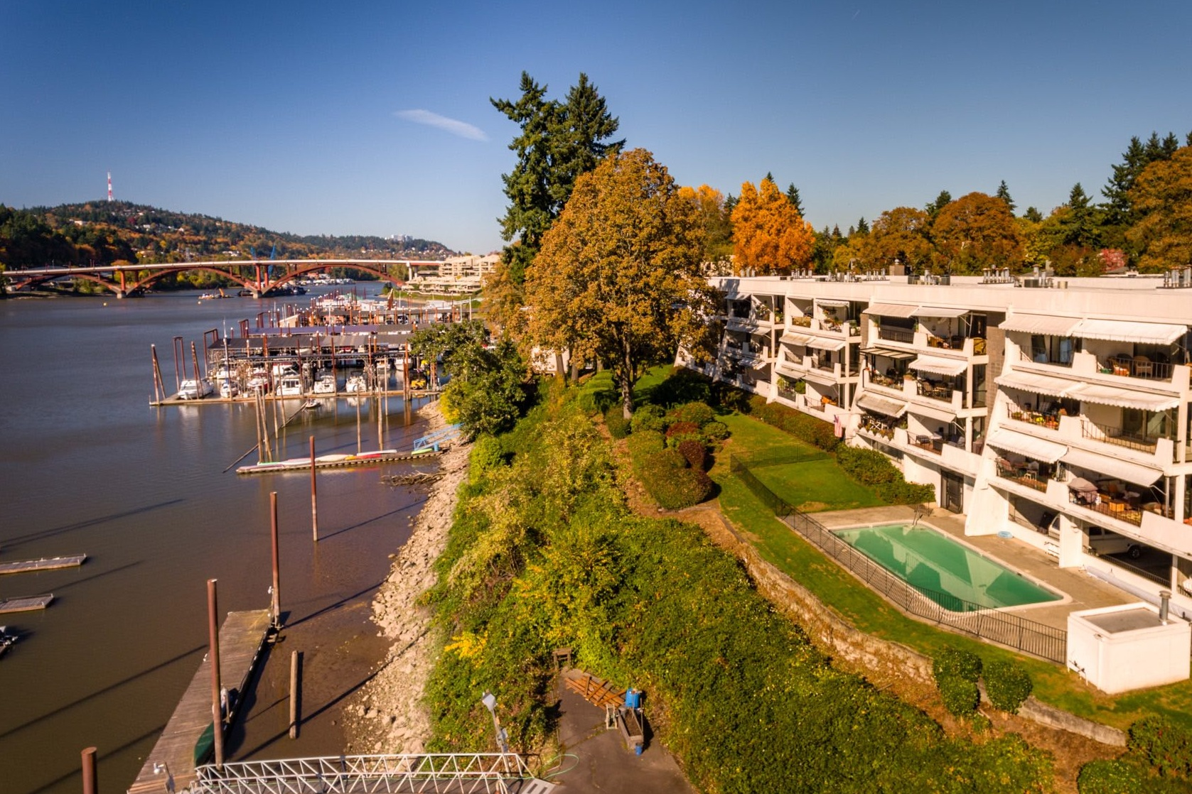 Aerial view of Quayside condos with Sellwood bridge in the background.