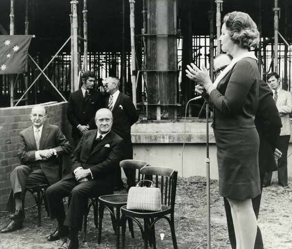 Dorothy Shaw at the laying of the Stanmore Centre foundation stone 1974