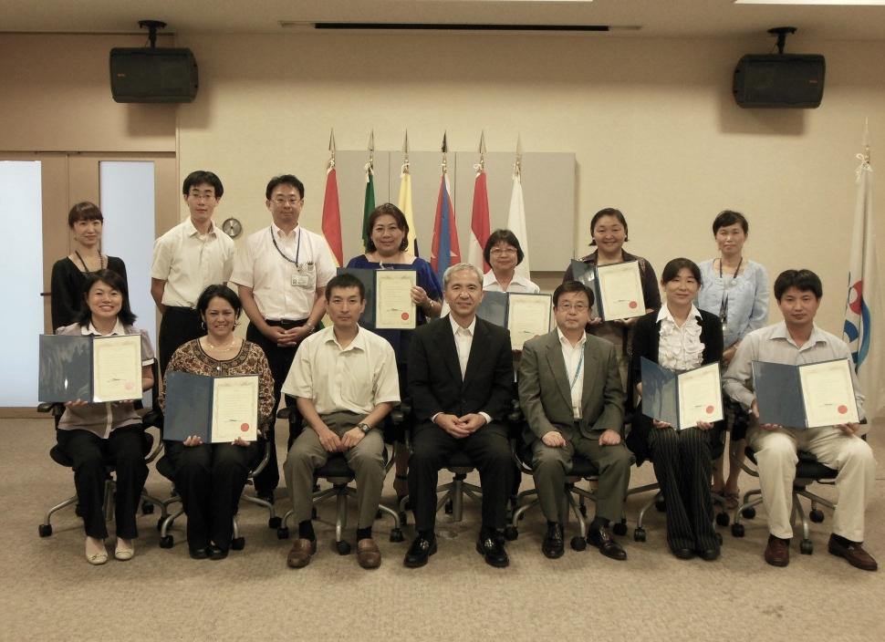 Graduation day. Francys Arakawa (front, second from left)