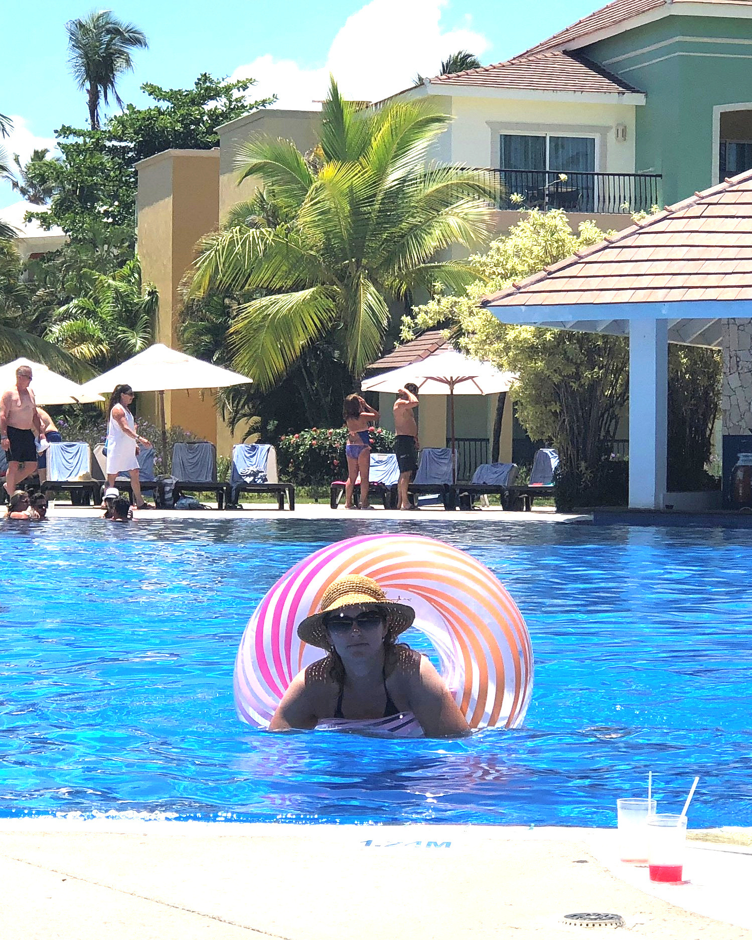 """Sandy Brunner - Ready for the pool""""Going to an All-Inclusive resort or somewhere with a fabulous pool? Pack an inner tube or other inflatable in your suitcase and blow it up when you get there! Then you have something to leisurely float around the pool in while sipping the cocktail of your choice. It definitely makes the trip that much more relaxing."""""""