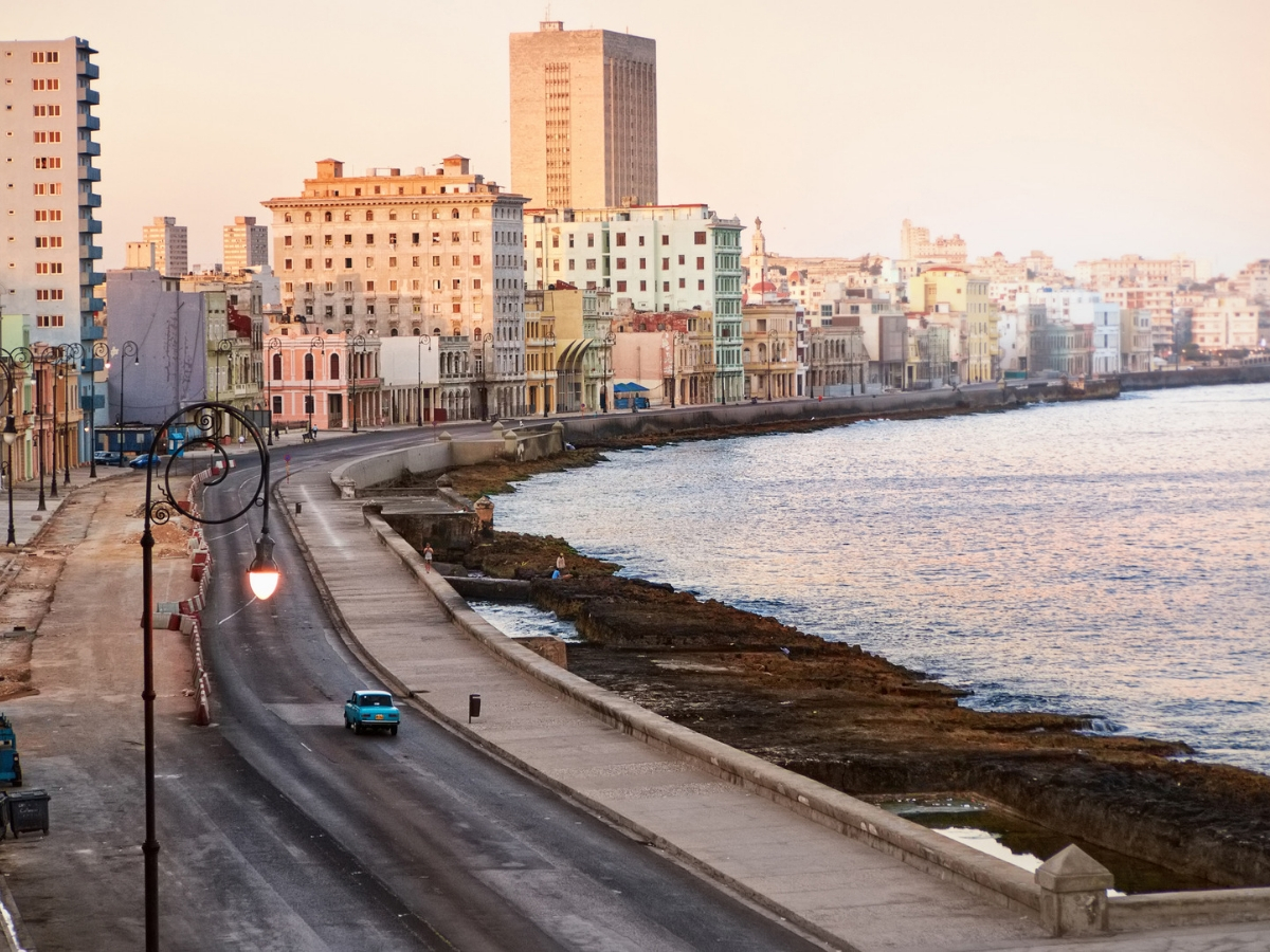 Havana's Malecon is a roadway and seawall, which stretches 5 miles along the cost of Havana.