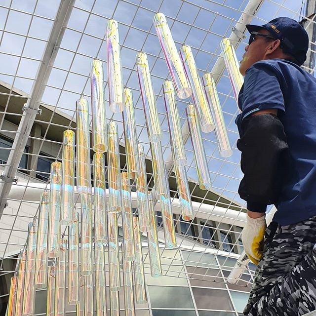 Let's start hanging. #ripplepavilion #pavilion #gyoungnamartmuseum #경남도립미술관 #파빌리온 #창원 #장수현