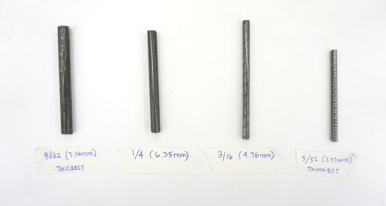 The metal rod widths in different cuts