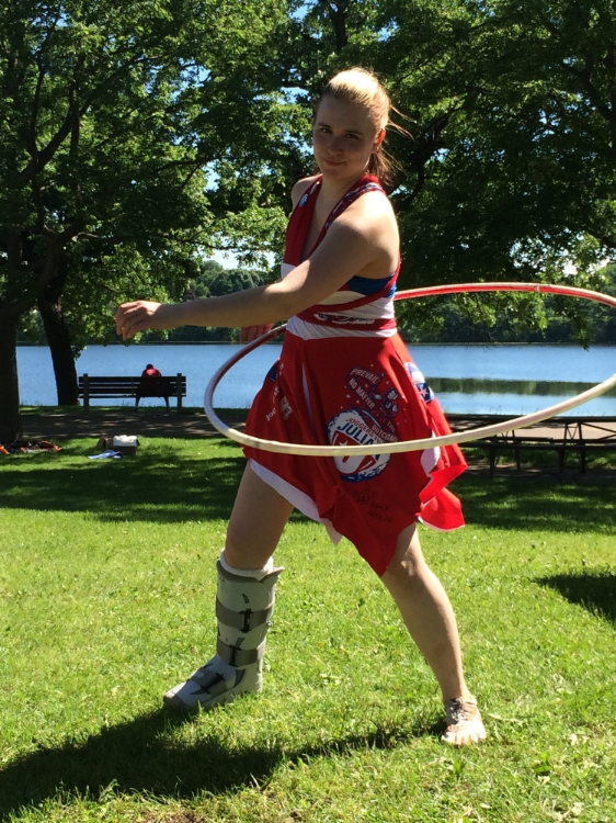 Brought my hoop to stay entertained at the tent while the Joggers for Julian team walked in the 5K. I made my dress from previous year's t-shirts and that hoop is a special hoop I had made in memory of Julian.