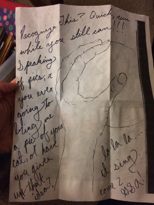 One of the many notes I found and enjoyed catching up with the sender over. <3