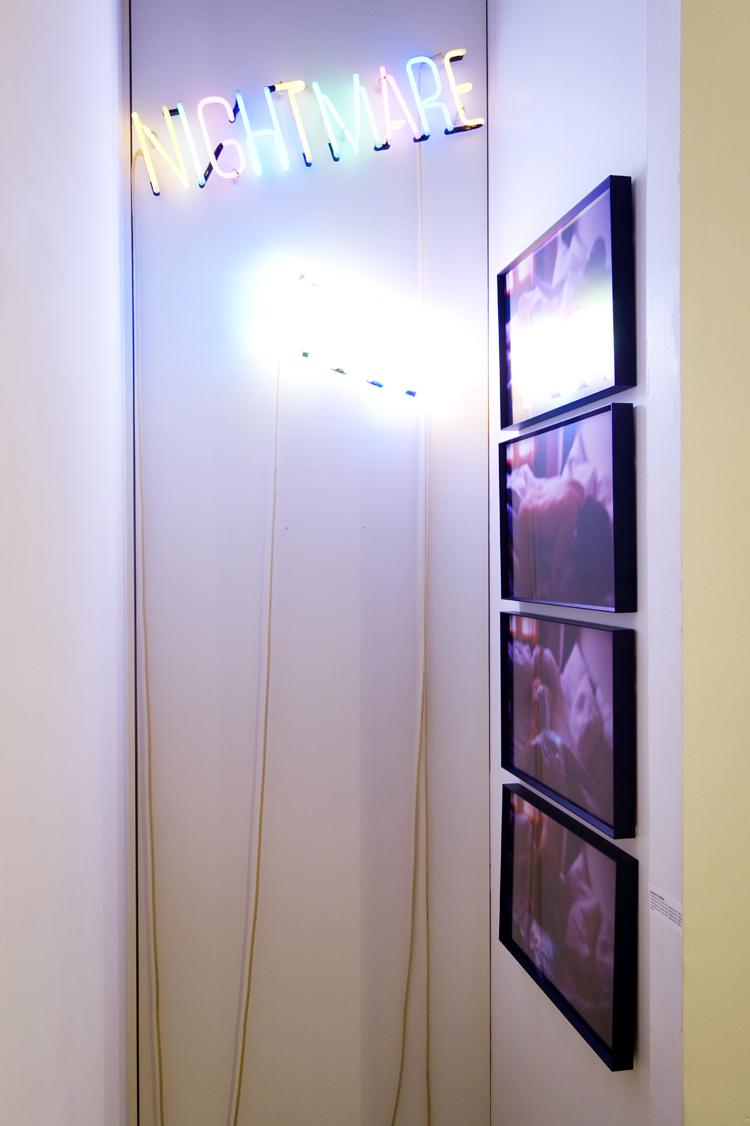 """Installation view """"mauvais genre"""", Interview #1-#4 copy-eins-zwei-drei-vier, selfportrait, 2006, lambda print, 28 cm x 32 cm / 56 cm x 64 cm."""