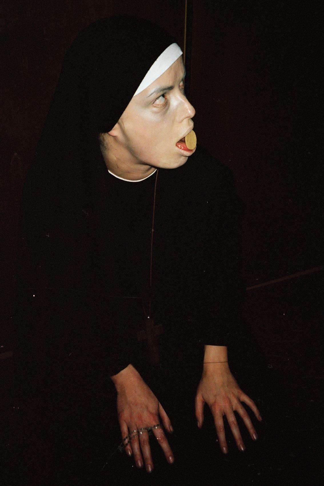 figure for the base of a crucifixion #6  ,  self-portrait, 1999, lambda print, 40 cm x 60 cm.