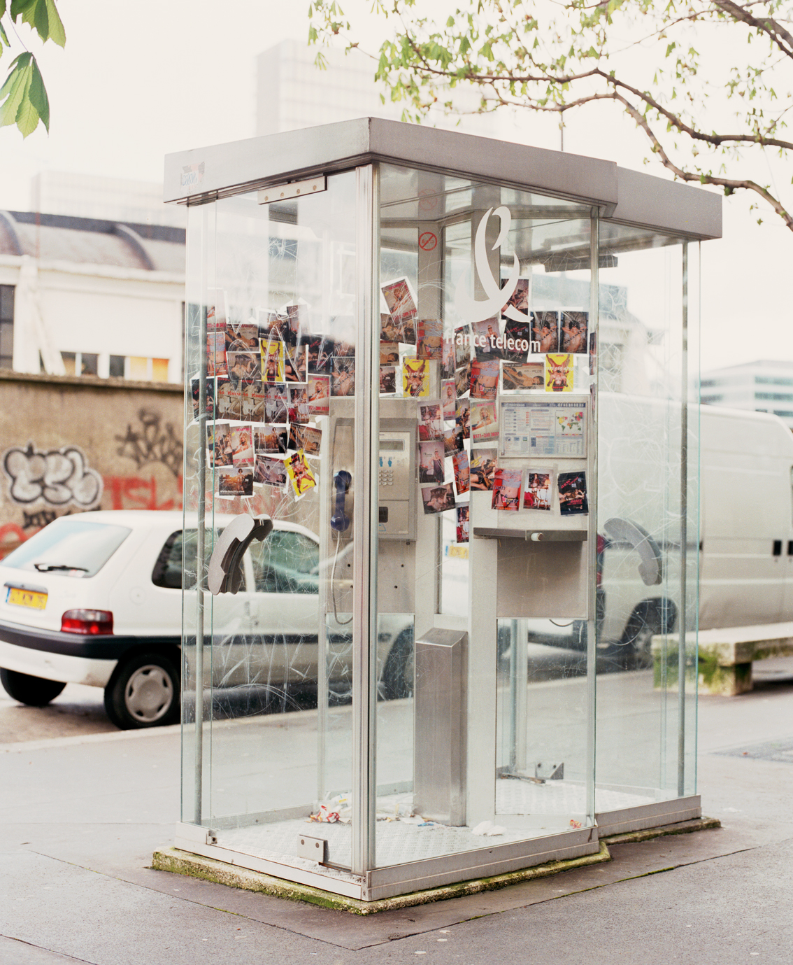 0171-girlz  , installation view in public telephone booth, 75013 Paris, 2000