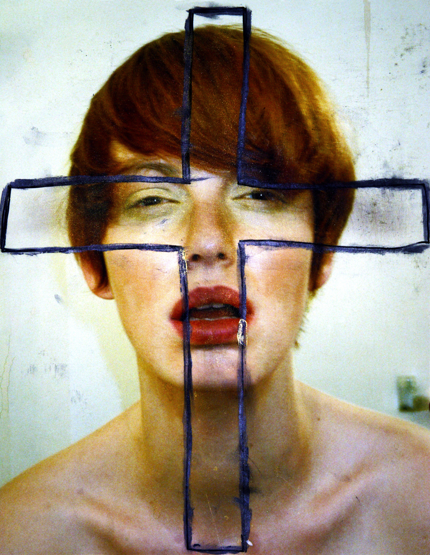 cross  , self-portrait, 2001, print on epson paper, paint and marker, unique piece, private collection.