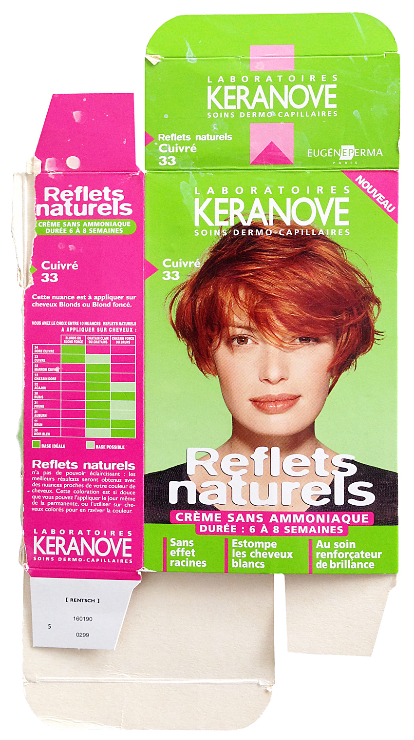"""reflets naturels - cuivre""  , commercial hair product box with Junker as model, 1990s, France."