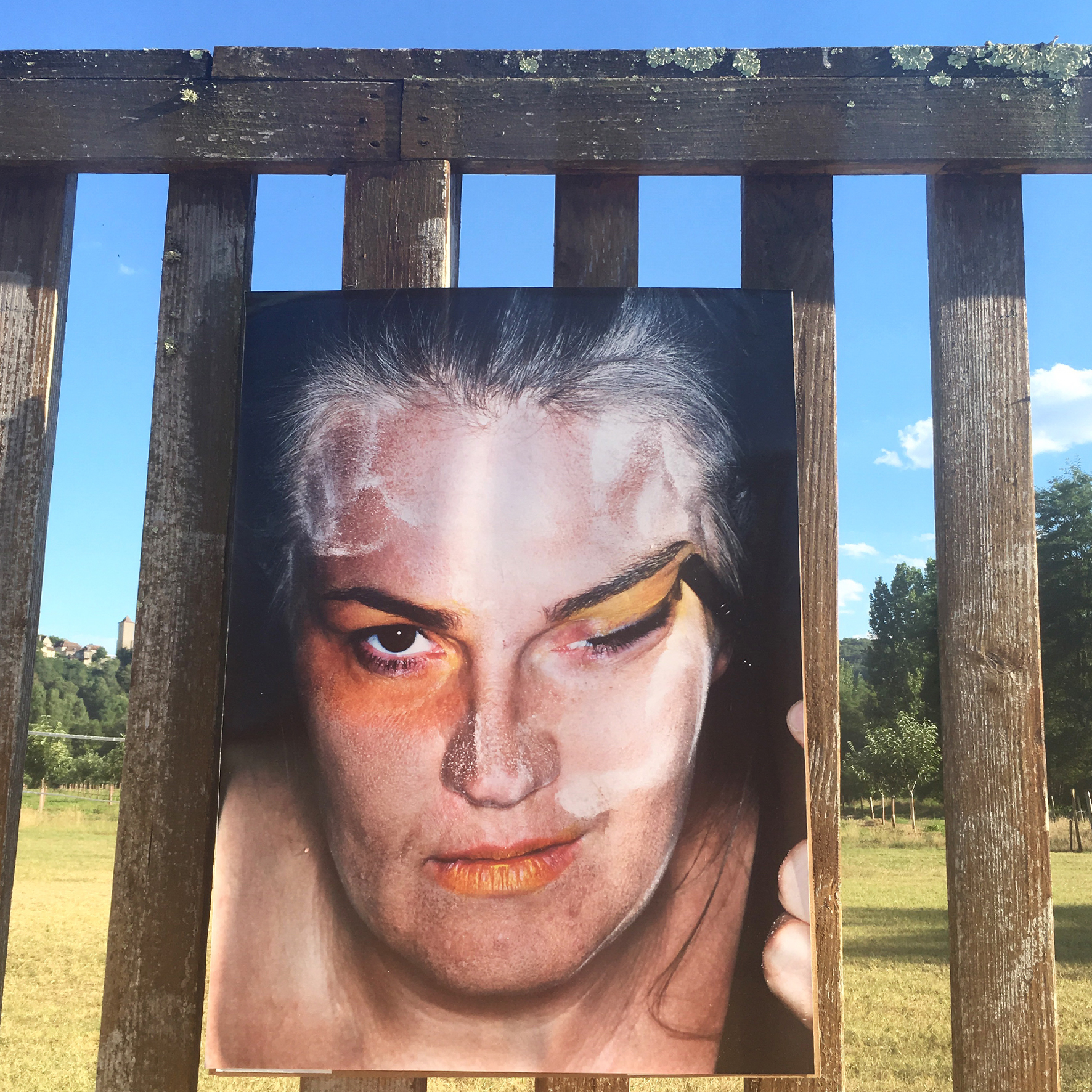 ID-Identity by Susanne Junker , side specific installation, 16 lambda prints, 80 x 60 cm, 1st edition of the Montvalent Art Festival, Montvalent, France, 2016.