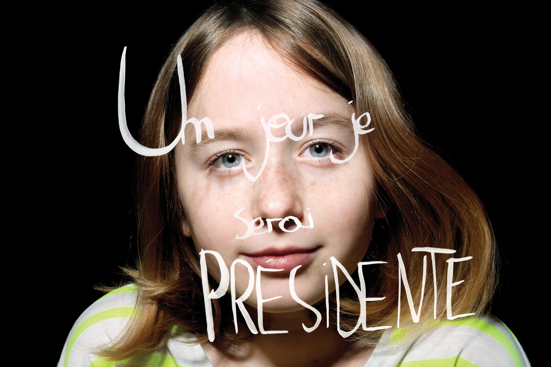 """Luli, """"Un jour serai présidente"""", les voeux de Luli pour Portrait-Parole. © PORTRAIT-PAROLE 2016."""