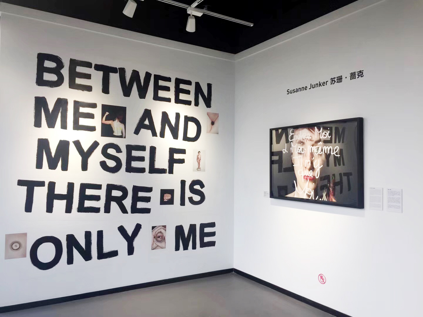 "Installation view:  left side: ""between me and myself there is only me"", acrylic color, images from the book: 21st century woman, printed on wall paper. 300 x 300 cm, side specific installation.   right side: from the series ©portrait-parole 2016, ""Entre moi et moi même, il n'y a que moi"" (between me and myself there is only me). 120 x 80 cm inkjet print on FineArt Baryta Hahnemühle paper, mounted on aluminium, framed 124 x 84 cm."