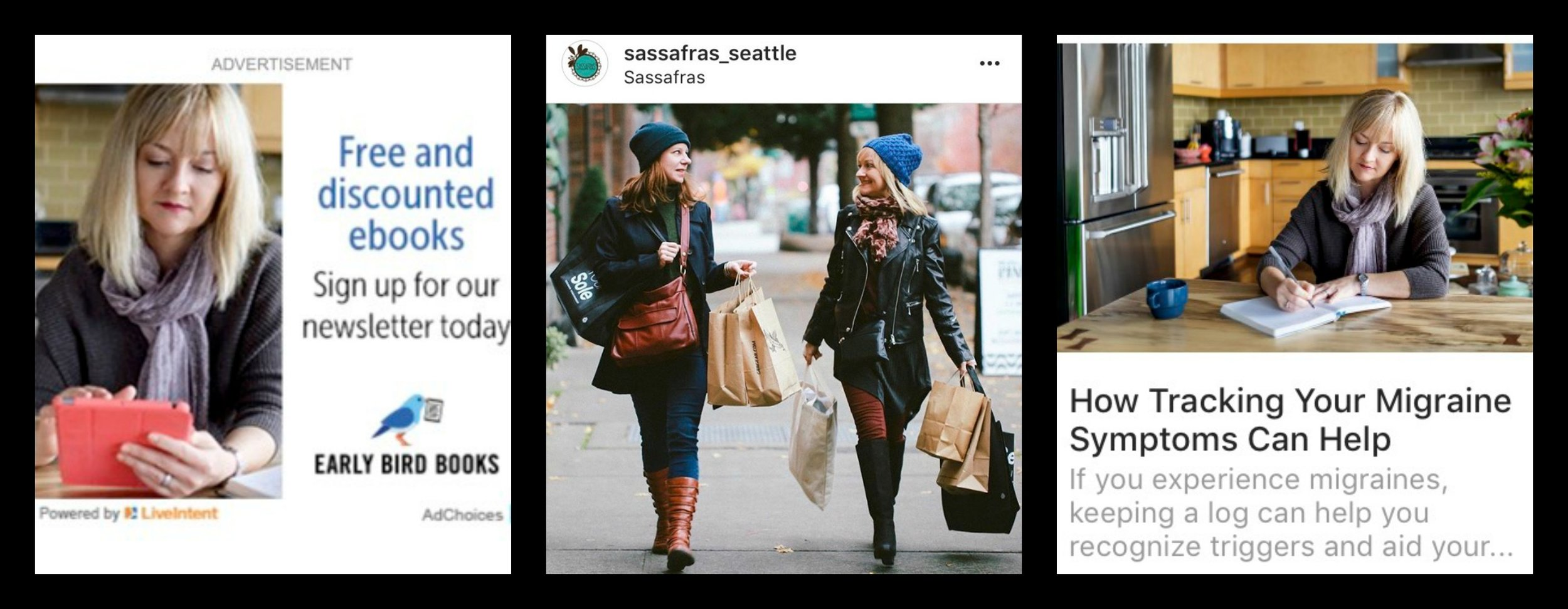 """Photographer, Supri Suharjoto of Take a Pix Media took the stock photos seen above used in an ebook ad seen in the New York Times and the migraine article. Maggie Sandner-Gialamas of Blue Hour Photography was the photographer for a """"Shop Local Seattle"""" campaign sponsored by Sassafras boutique in Seattle."""