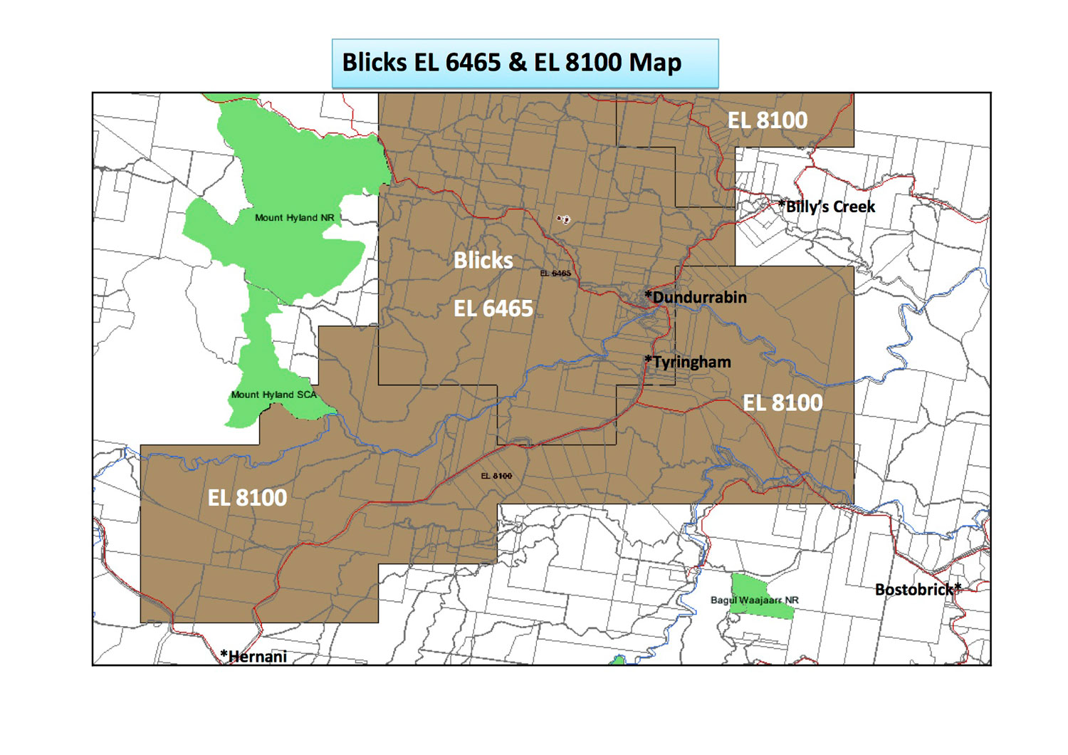 "Active mining leases in the ""Tyringham Corridor"" covering Glen Fernaigh, Tyringham, Dundurrabin and Billys Creek"