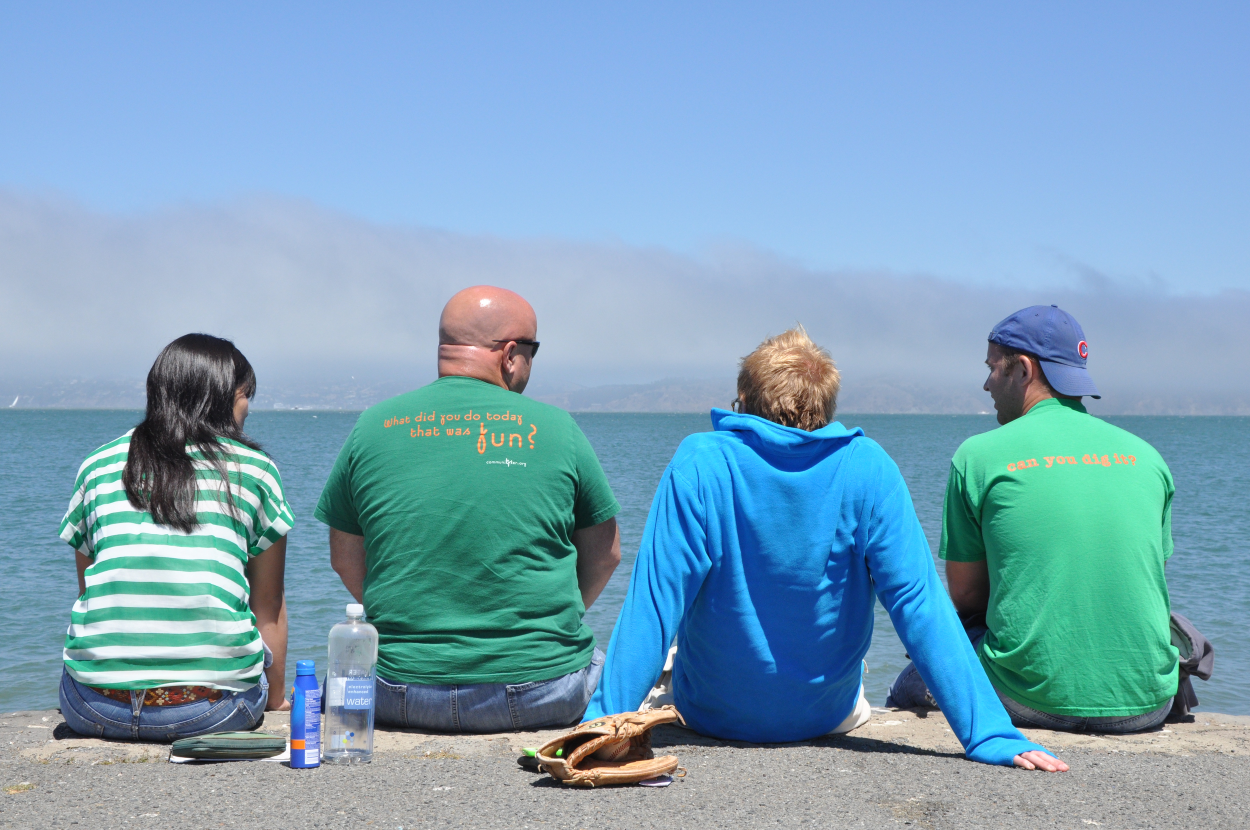 Becky, Doug, Steve, and John take in the Pacific Ocean at the end of a long morning.