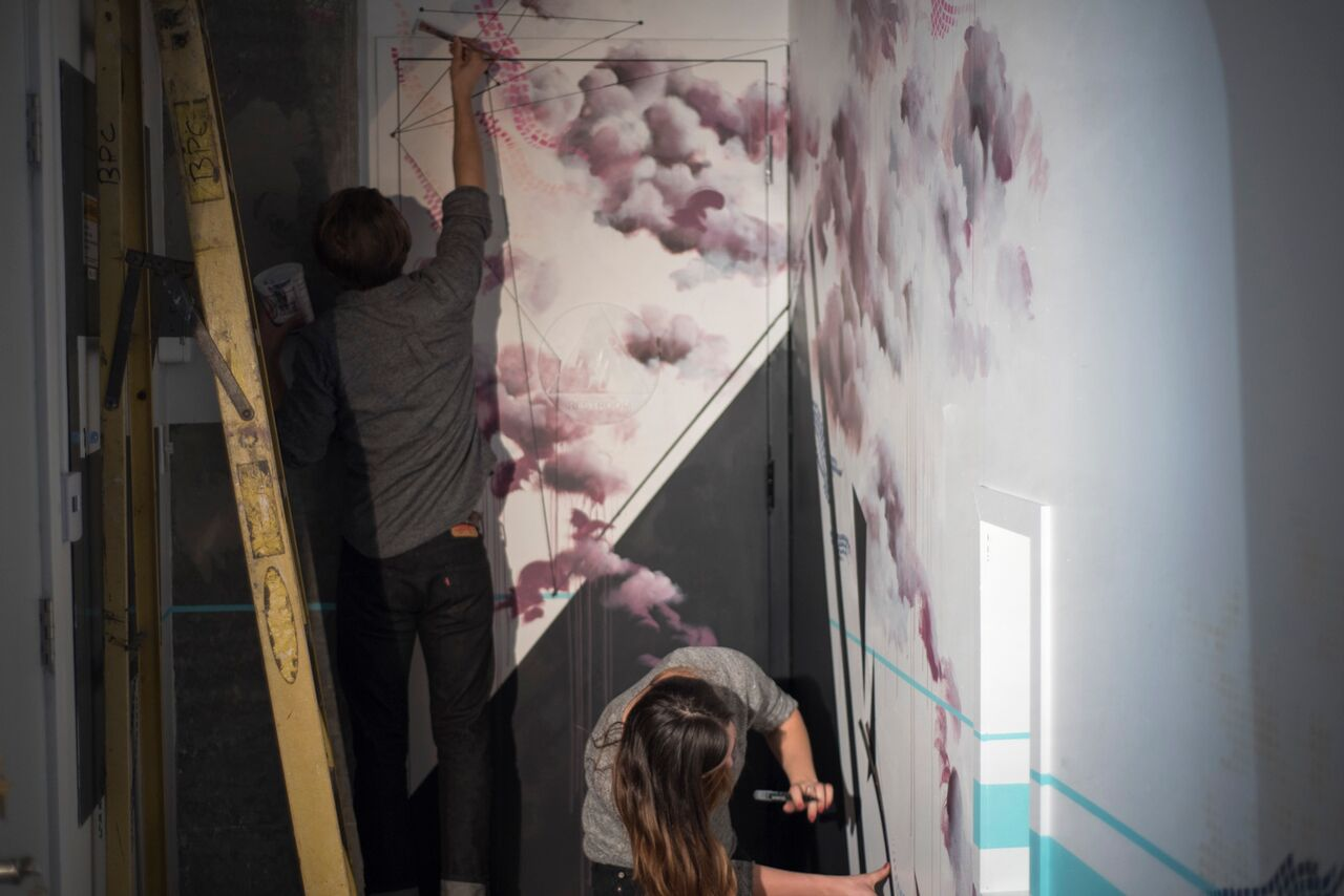 mural artists at Bean Bar, San Diego