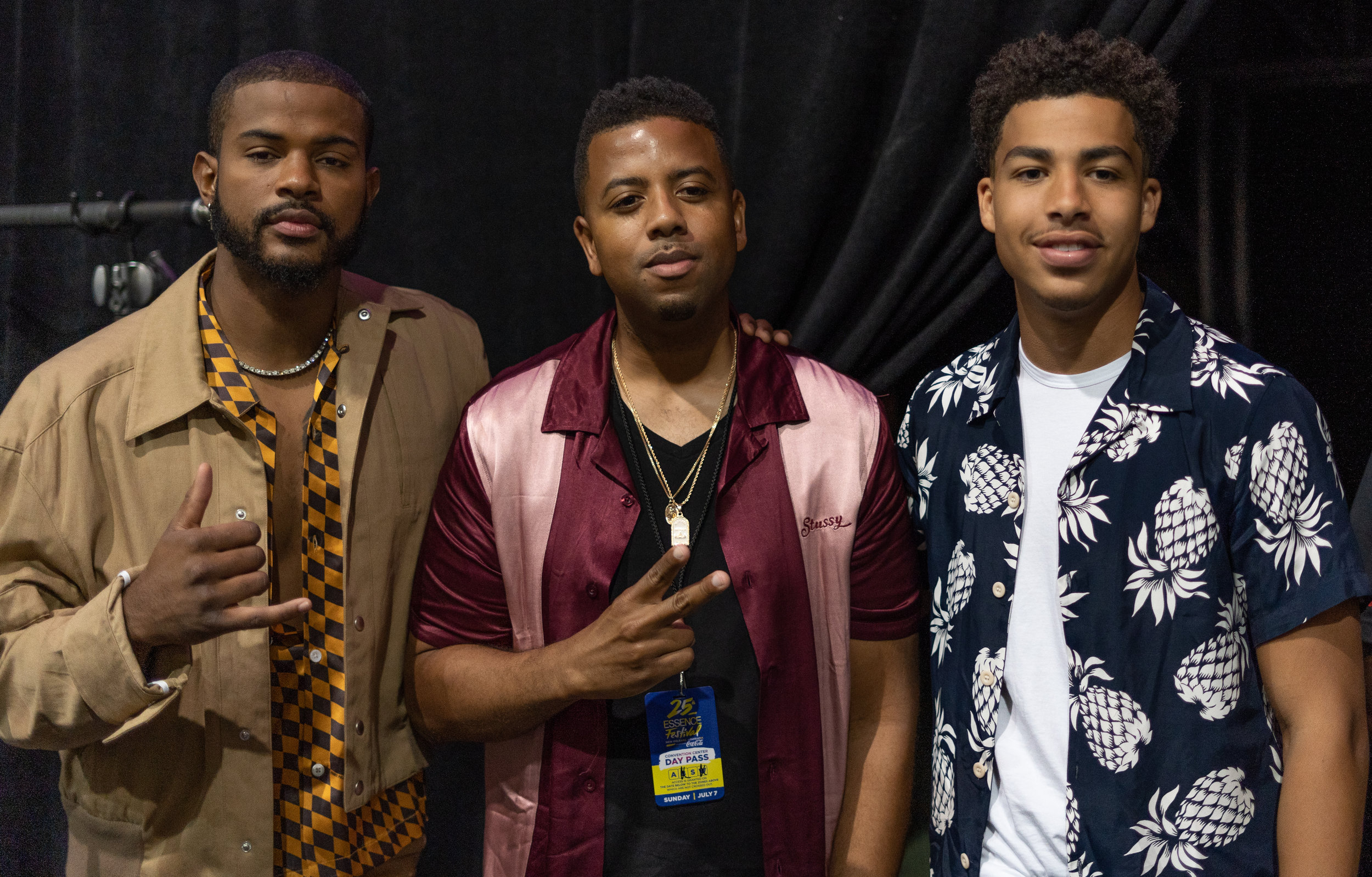 Justin Garner with the cast of Grownish: Trevor Jackson and Marcus Scribner.