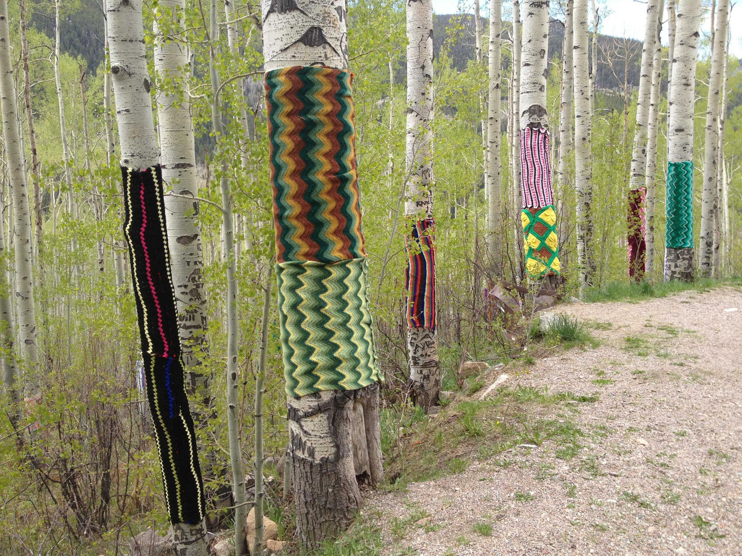 Yarn bombing in Aspen. Photo: Aspen Public Radio.