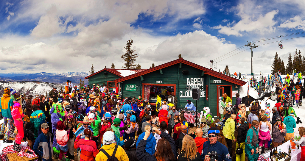 Party-goers throw down at Cloud 9 on Aspen Highlands.