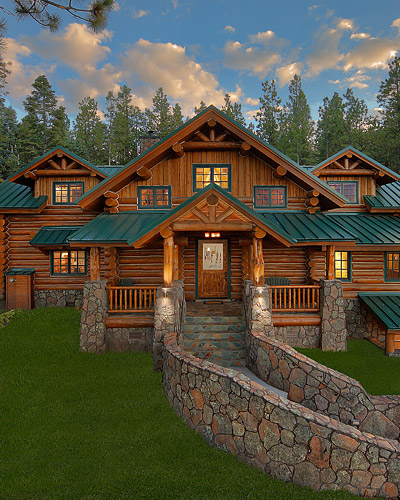 Typical American log home with green trim