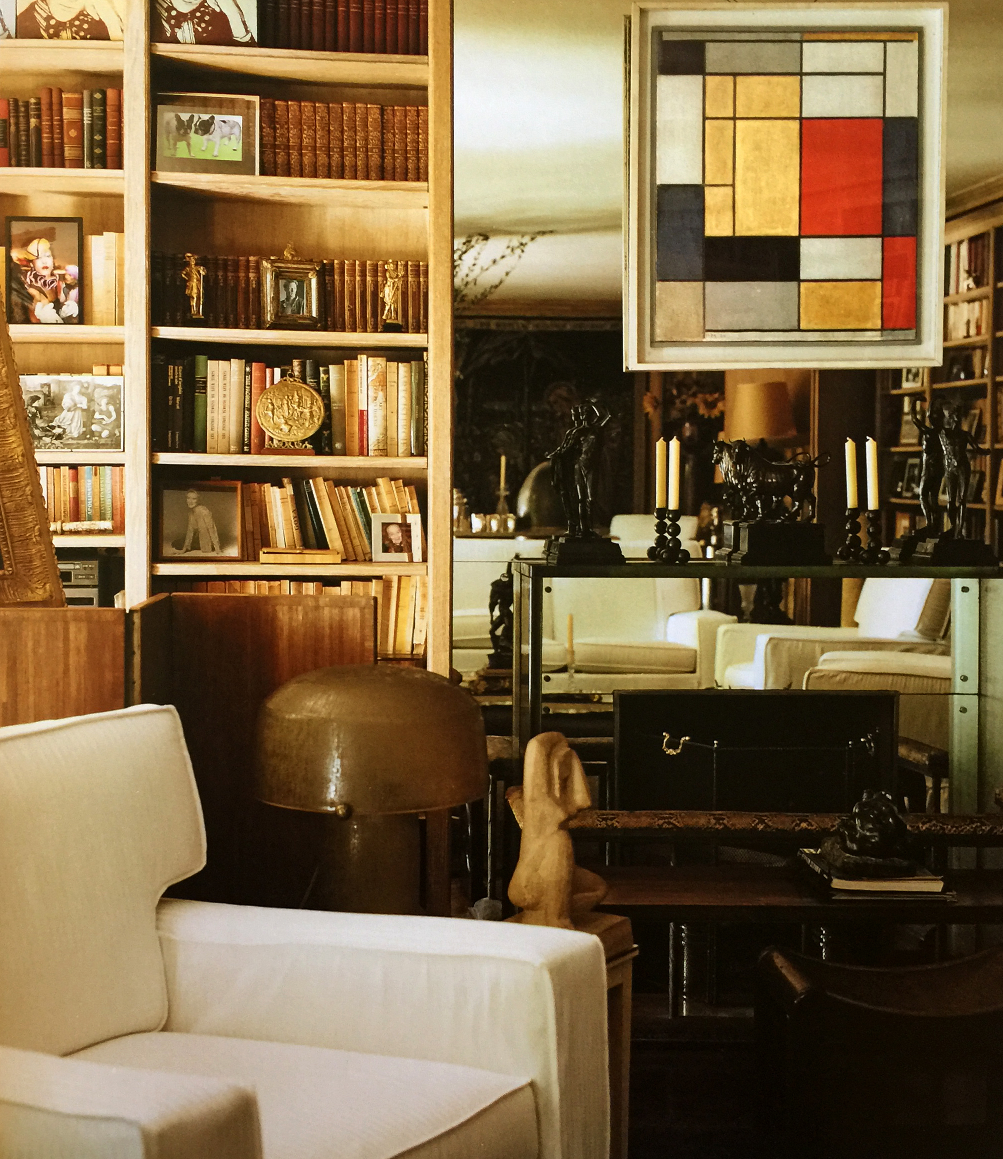A Mondrian hangs in their famous Right Bank Apartment