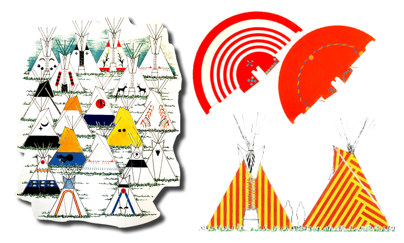 Left: Did you know that the door of the tipi is always faced towards the East to greet the morning sun?  Bottom right: A more modern-inspired tipi design.