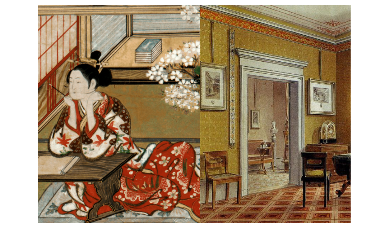 Painting from The Tale of Genji (c. 1021) and a 19th Century German living room in the Biedermeier style.