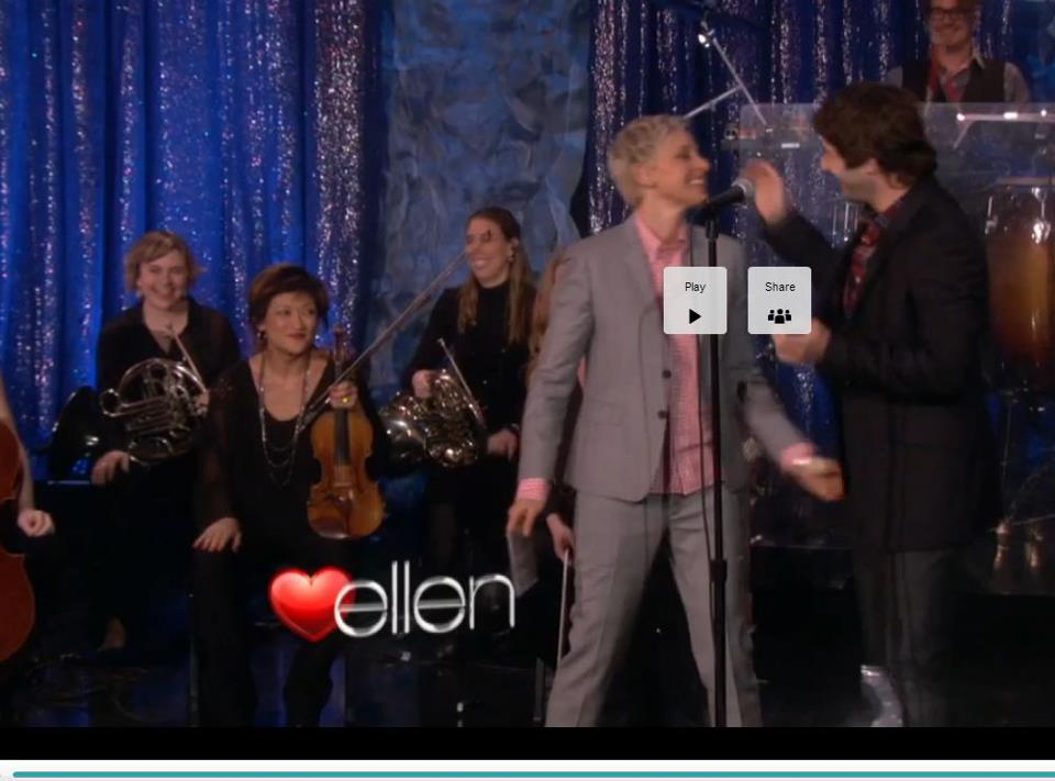 Performing on ellen with Josh Groban