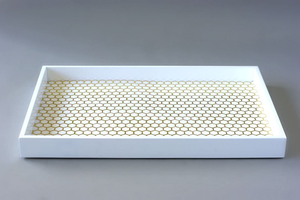 West Elm Tray Makeover - Honeycomb Vellum