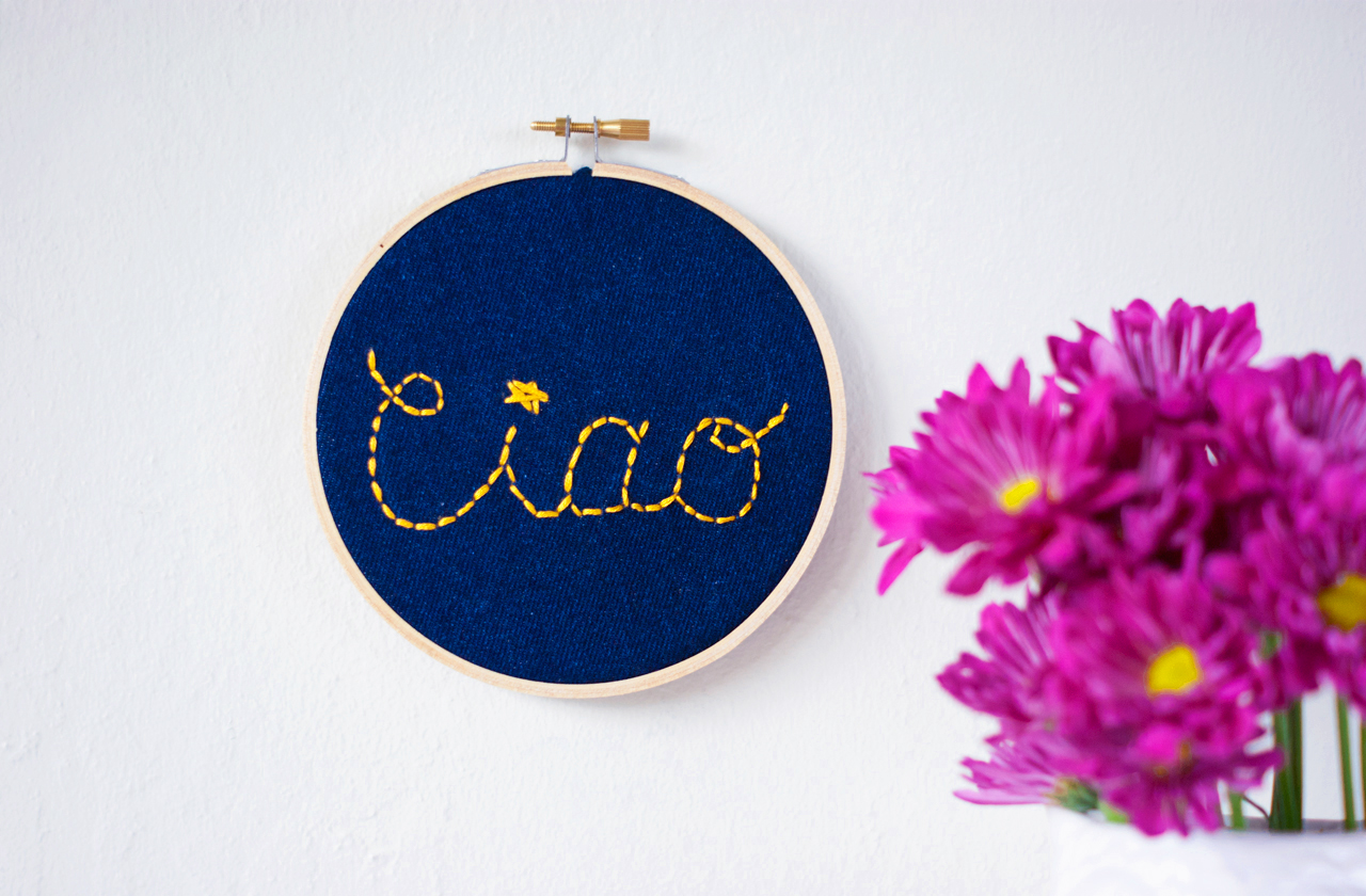 A Charming Project - DIY needleword - Embroidery Hoop Wall Sign Final
