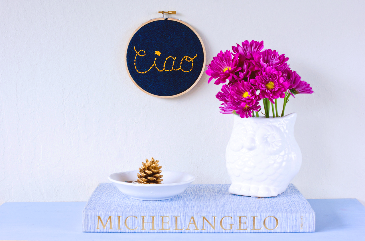 A Charming Project - DIY needlework - Embroidery Hoop Wall Sign Ciao