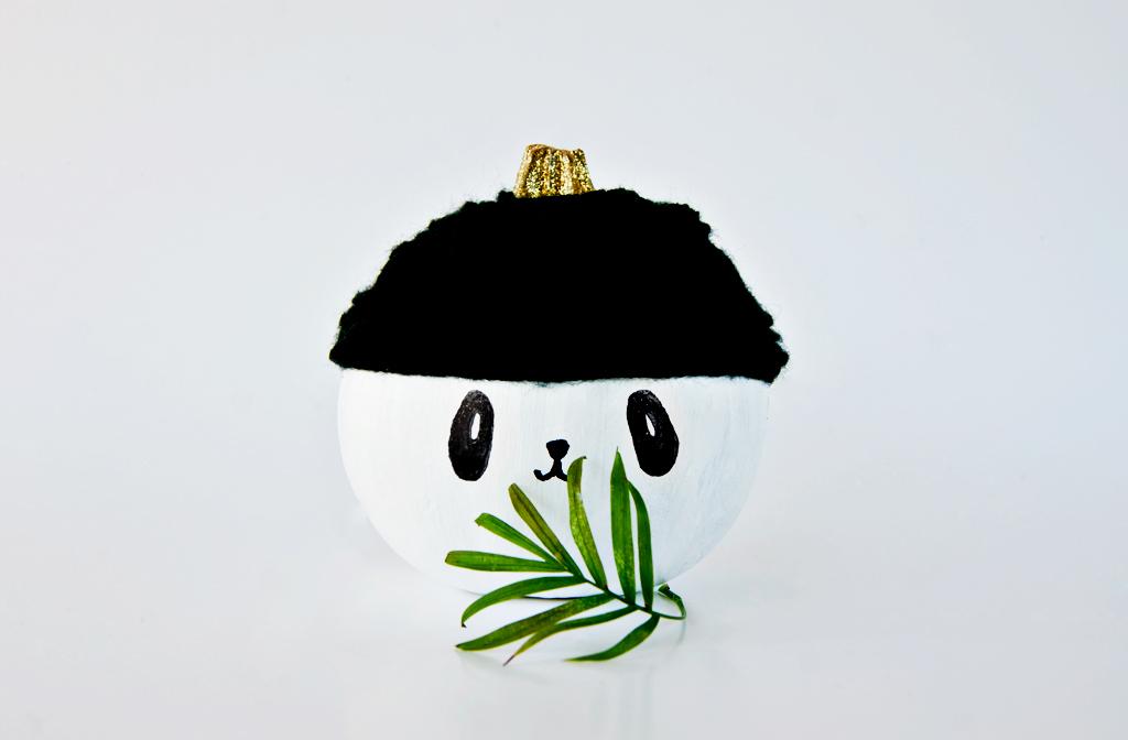 DIY no carve panda pumpkin decoration